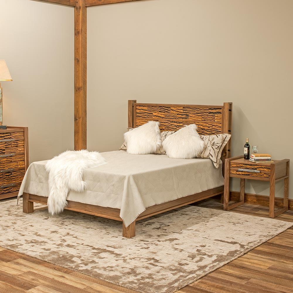Riley Bed Reclaimed Barn Wood with bark Tile-TM Desig 6317440BTns