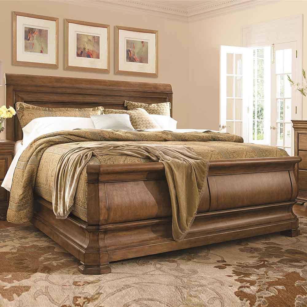 New Lou Louie P S Sleigh Bed Alder Veneer Hardwoods Cognac