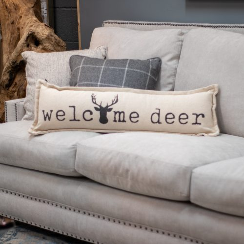 Welcome Deer Dhurrie Cotton Long Pillow