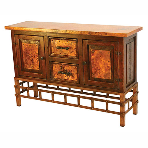 Copper Sofa Table with Remaches Base
