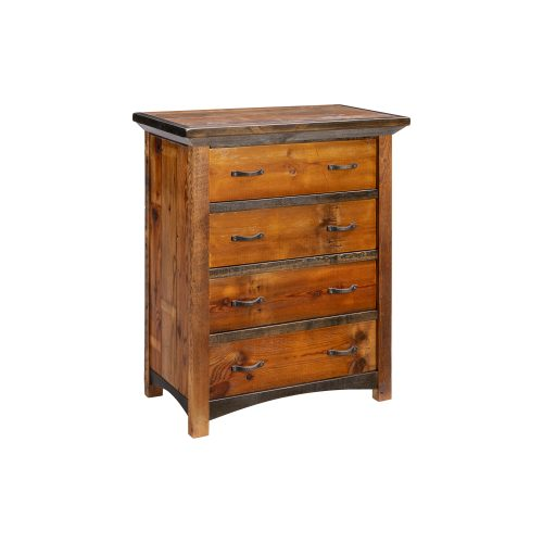 Mossy Oak Carver Point 4 Drawer Chest with Natural Bark & Walnut Top
